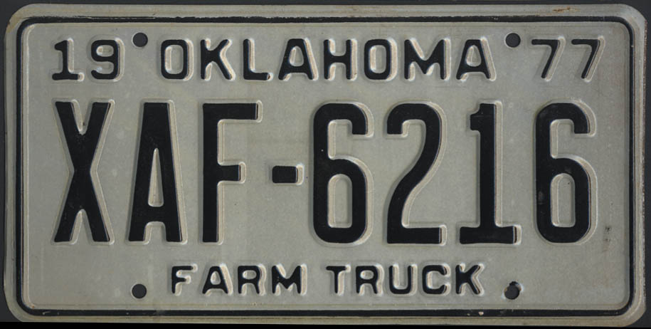 Image for 1975 Oklahoma Farm Truck license plate XAF-6216