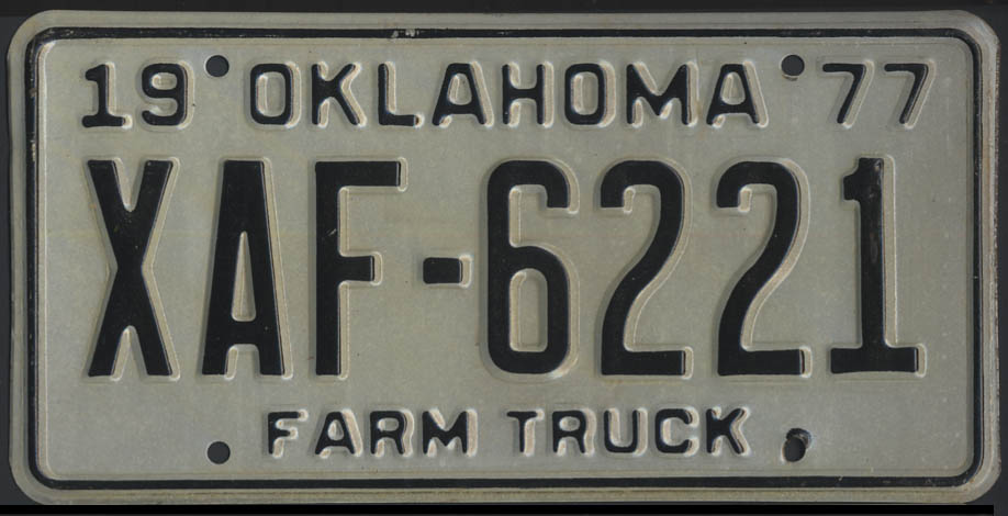 Image for 1975 Oklahoma Farm Truck license plate XAF-6221