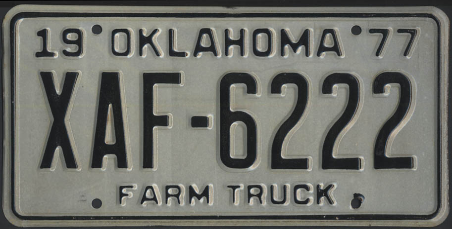 Image for 1975 Oklahoma Farm Truck license plate XAF-6222