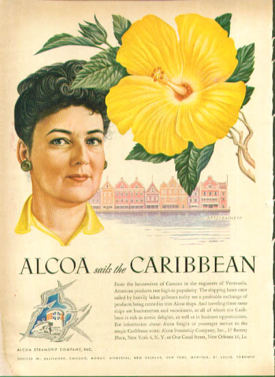 Image for Artzybasheff ad Alcoa Steamship yellow flower 1948