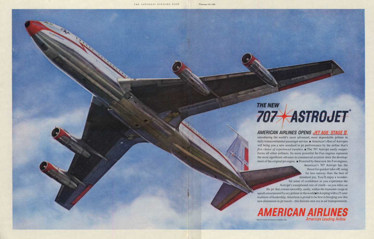 Image for The New Boeing 707 Astrojet opens Jet Age: Stage II American Airlines ad 1961 P