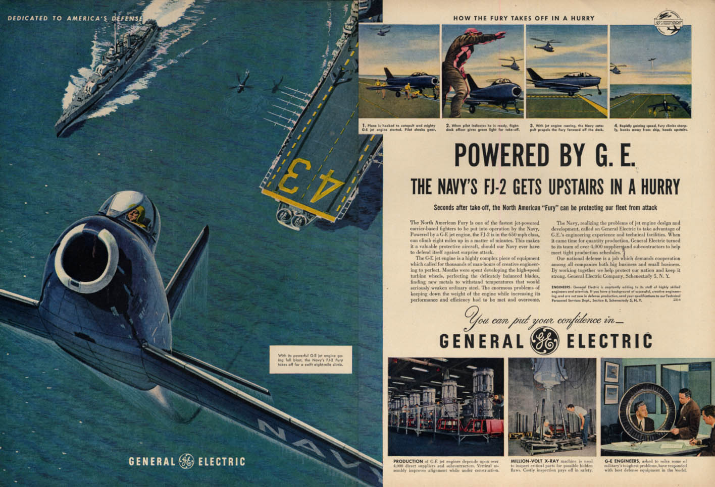 Image for USN North American FJ-2 Fury gets upstairs in a hurry General Electric ad 1953