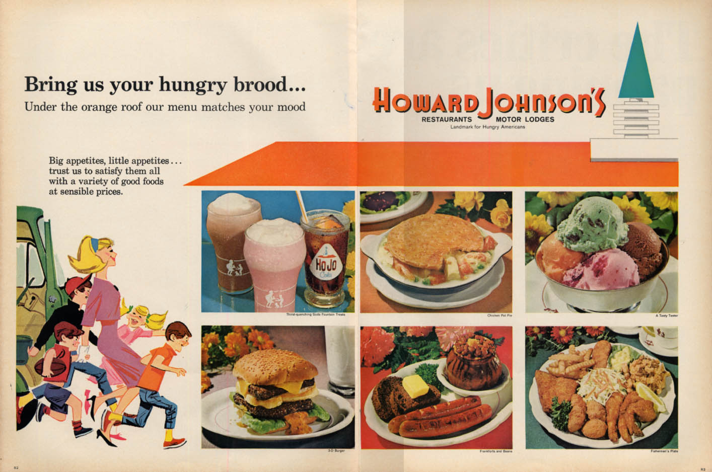 Image for Bring us your hungry brood Howard Johnson's Restaurants ad 1966 L
