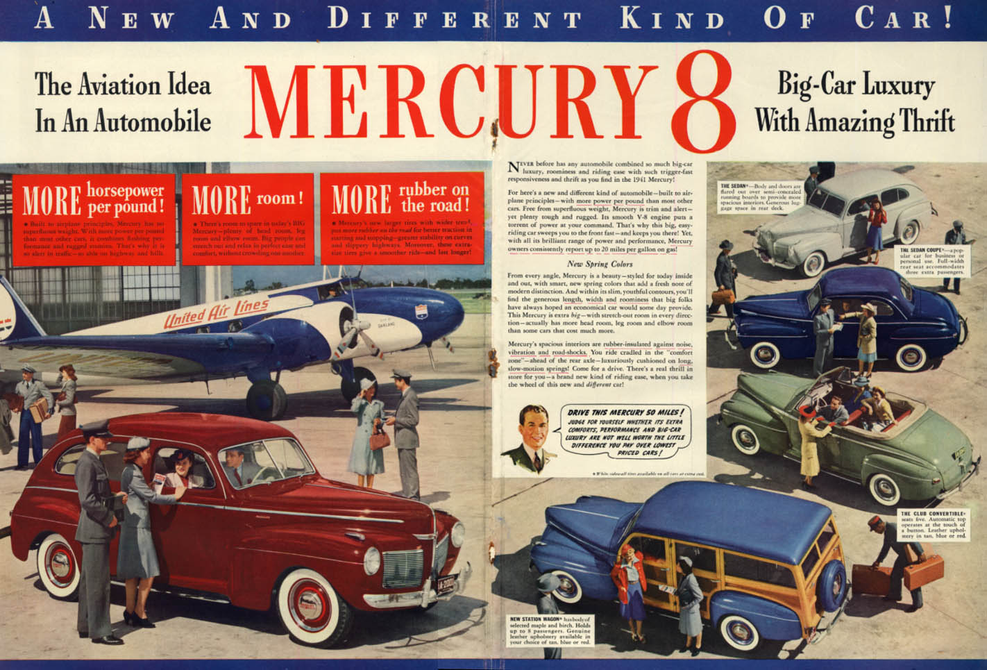 Image for The Aviation Idea in the Mercury ad 1941 United Air Lines Boeing 247 L