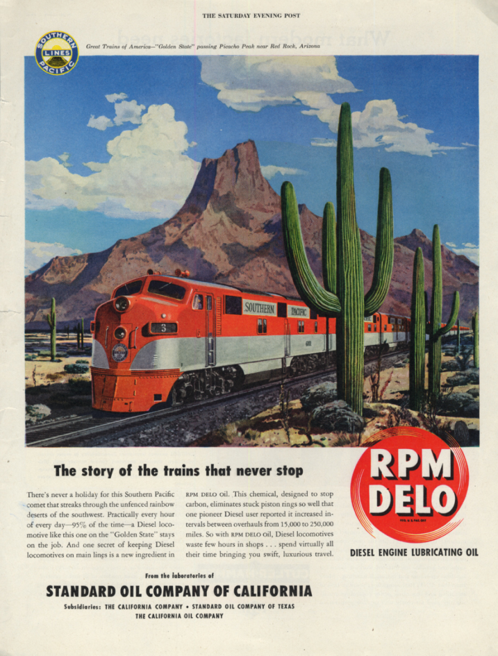 Image for Southern Pacific RR Golden State streamliner RPM Delo ad 1948 SEP