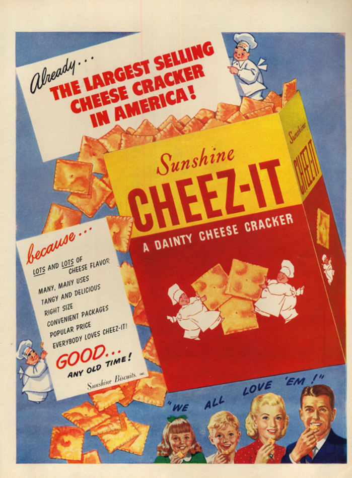Image for Largest Selling Cheese Cracker in America: Cheez-It Crackers ad 1947 L