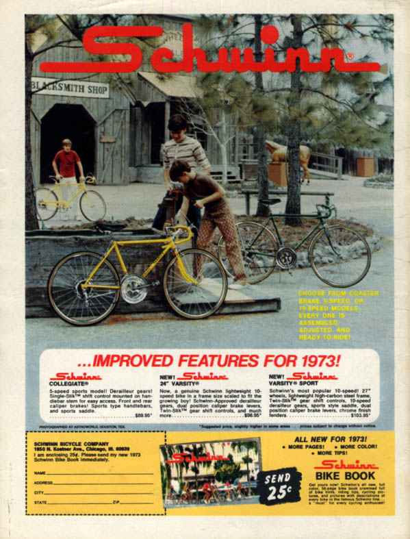 Image for Improved features for 1973! Schwinn Collegiate Varsity bicycle ad 1973