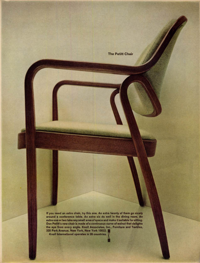Image for The Don Pettit Chair Knoll Associates MAGAZINE AD 1967