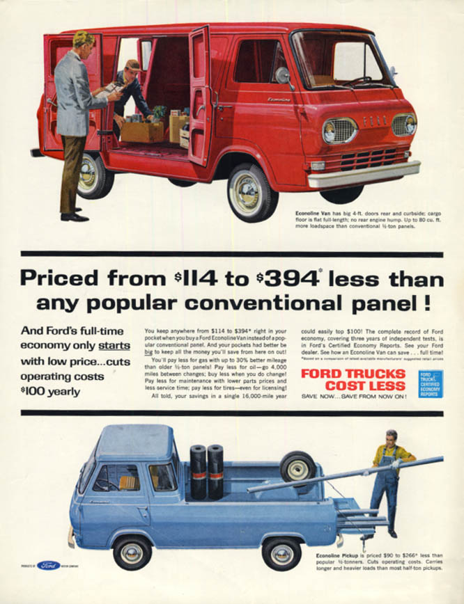 Image for $114 to $394 less than any conventional panel Ford Econoline ad 1962