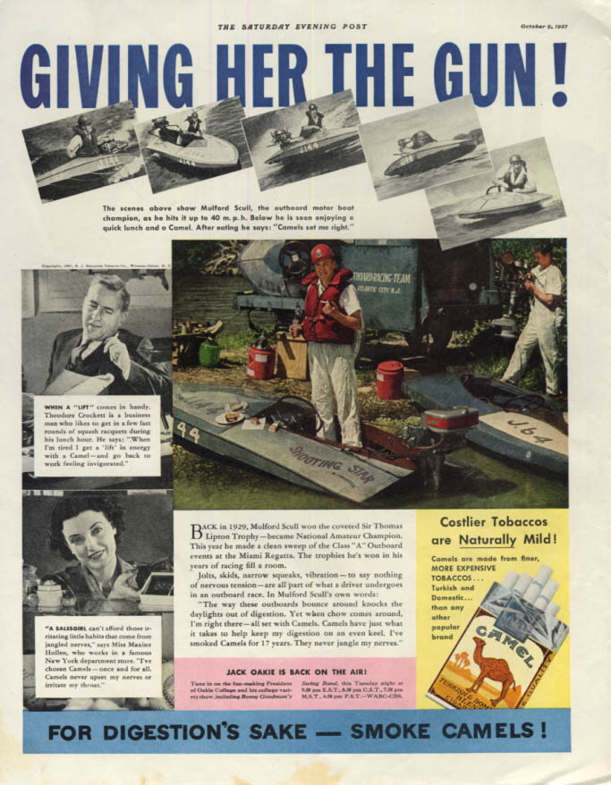 Image for Mulford Scull Outboard Motor Boat Racer Camel Cigarettes ad 1937