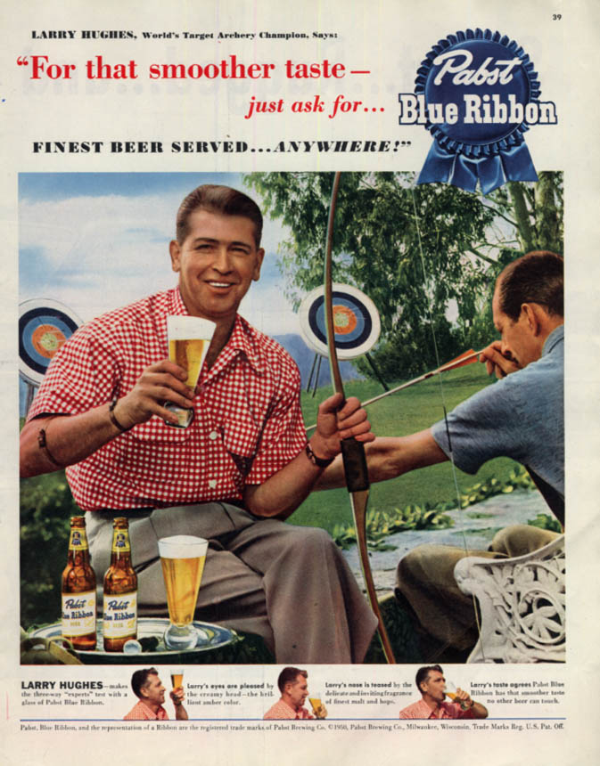 Image for World's Target Archery Champion Larry Hughes Pabst Blue Ribbon Beer ad 1950 Col