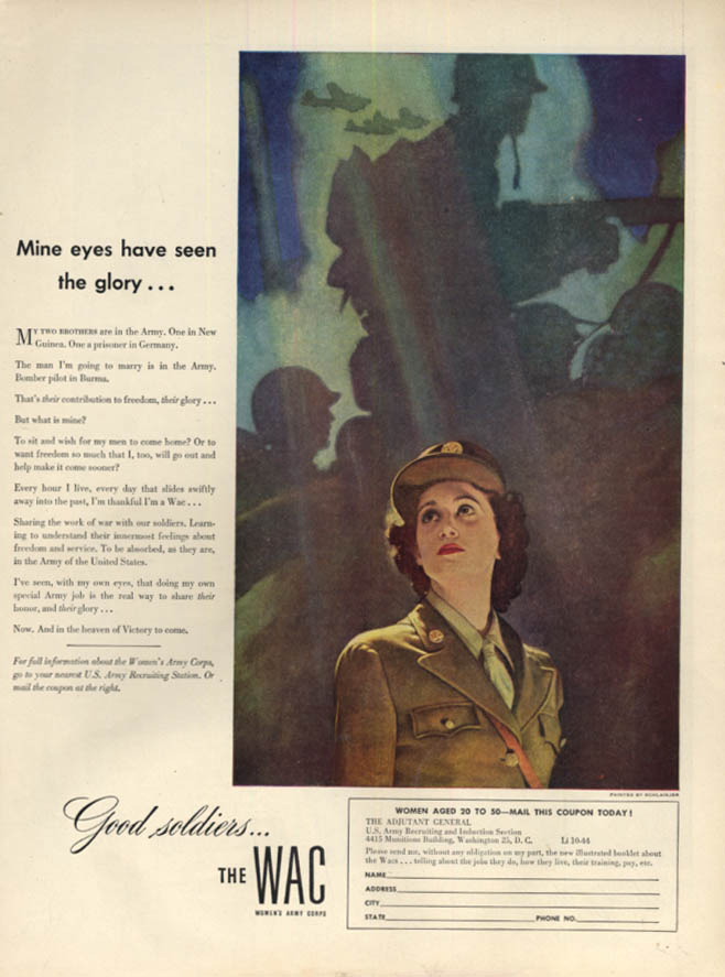 Image for Mine eyes have seen the glory WAC Women's Army Corps recruitment ad 1944 L