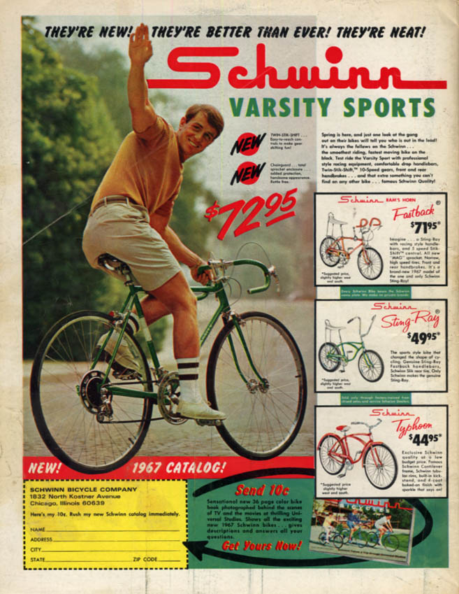 Image for New! Better than Ever! Neat! Schwinn Varsity Sports Bicycle ad 1967 BL