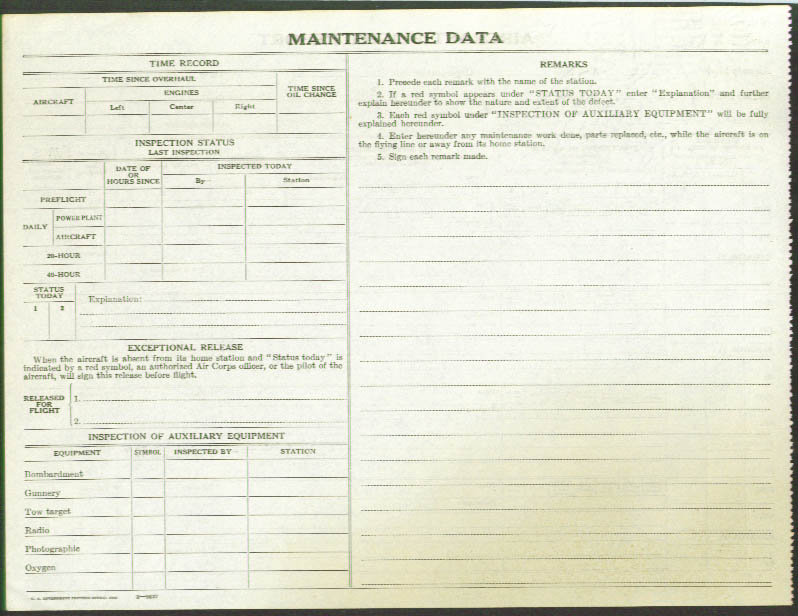 Image for Aircraft Flight Report Air Corps Form No. 1 1933 unused