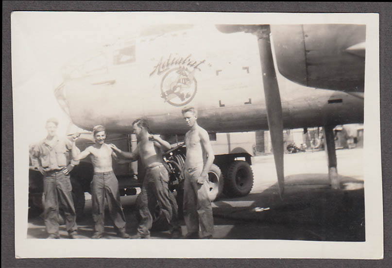 Image for USAAF North American B-25 Mitchell Adiabat nose art & crew photo 1940s