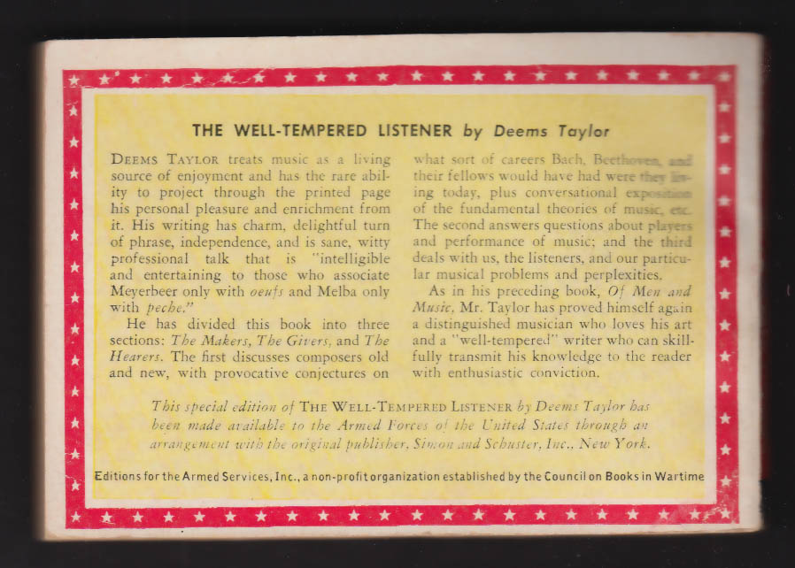 Image for ASE 1103 Deems Taylor: The Well-Tempered Listener: Armed Services Edition