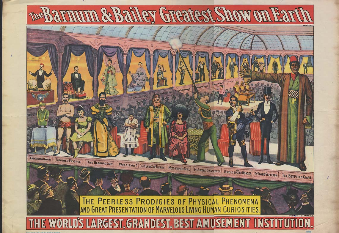 Image for Barnum & Bailey Circus Side Show Poster reproduction Circus World Museum 1980