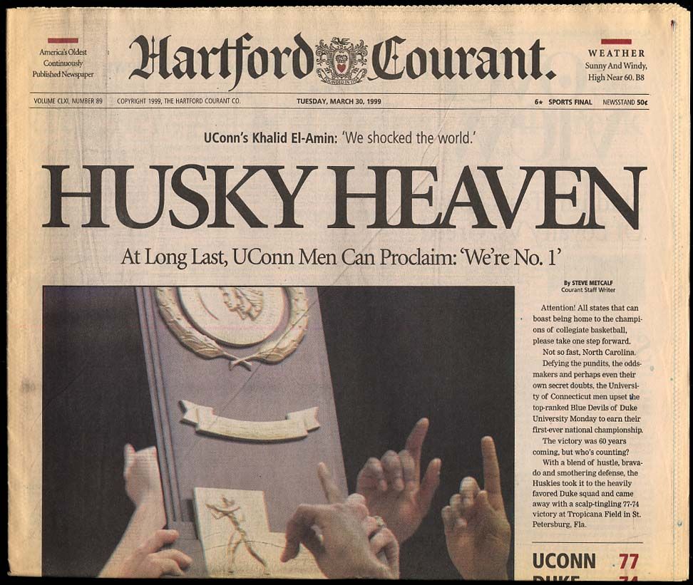 Image for Husky Heaven NCAA Champions newspaper section UConn Men's Basketball 1999