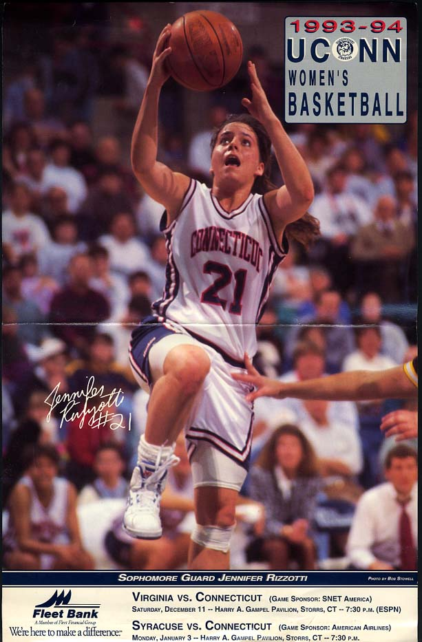 Image for Jennifer Rizzoti UCONN Basketball game roster folder poster 1993-94 season