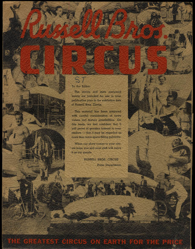 Image for Russell Bros Circus news release portfolio empty of content ca 1950