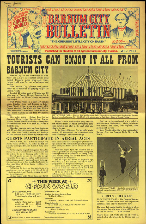 Image for BARNUM CITY BULLETIN 1977 Jewel New's Lion; Dancing Bear FL