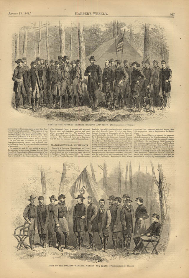 Image for HARPER'S WEEKLY page 8/13 1864 General Hancock General Warren by Mathew Brady