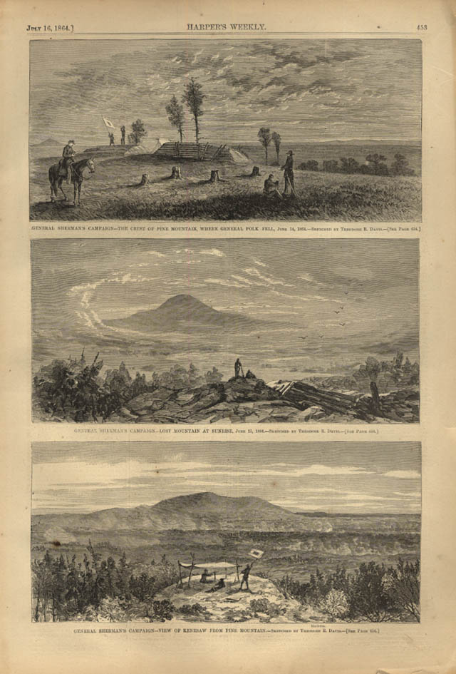 Image for HARPER'S WEEKLY page 7/16 1864 Gen Sherman at Pine, Lost & Kenesaw Mountains