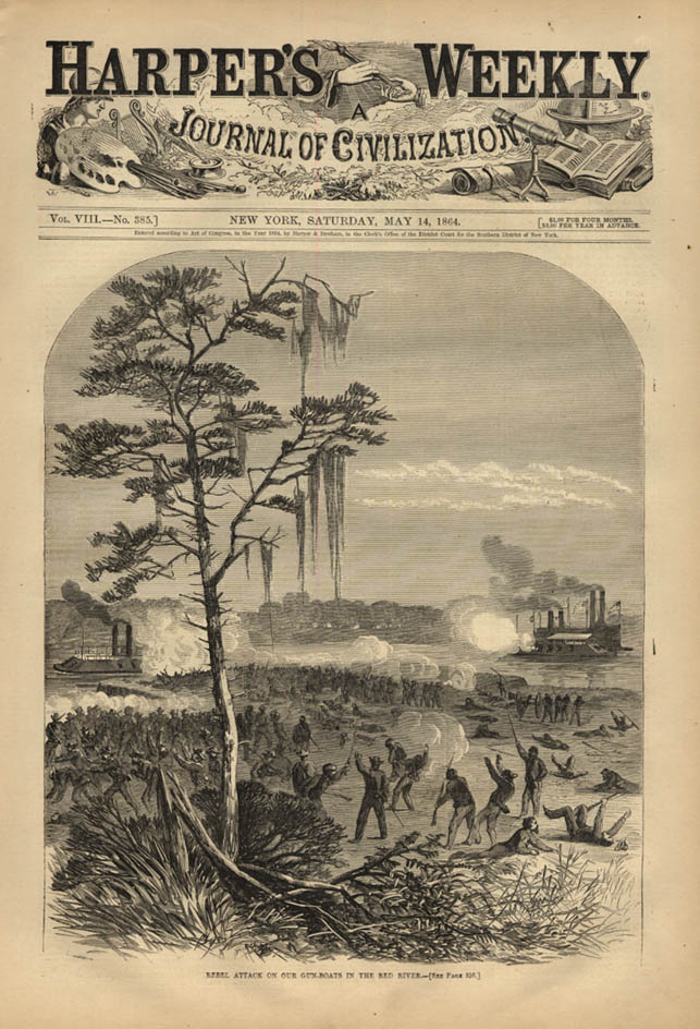 Image for HARPER'S WEEKLY page 5/14 1864 Rebel Attack on Union Gunboats ar Red River
