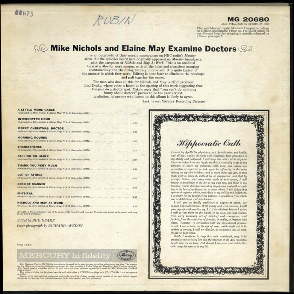 Image for Mike Nichols & Elaine May Examine Doctors Mercury LP MG 20680 1962