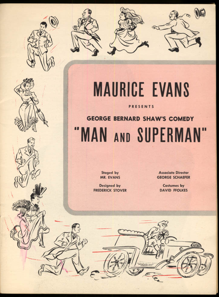 Image for Maurice Evans in Shaw's Man & Superman program 1948 Hirschfeld cover