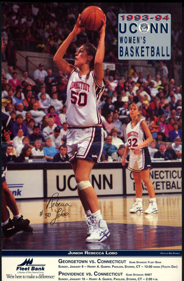 Image for UCONN Women's Basketball vs Georgetown & Providence program Rebecca Lobo 1994