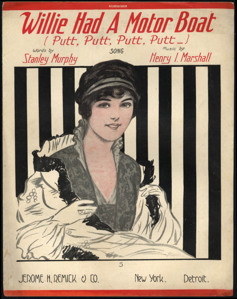 Image for Willie Had A Motor Boat Putt Putt Putt sheet music 1914 Starmer pretty girl