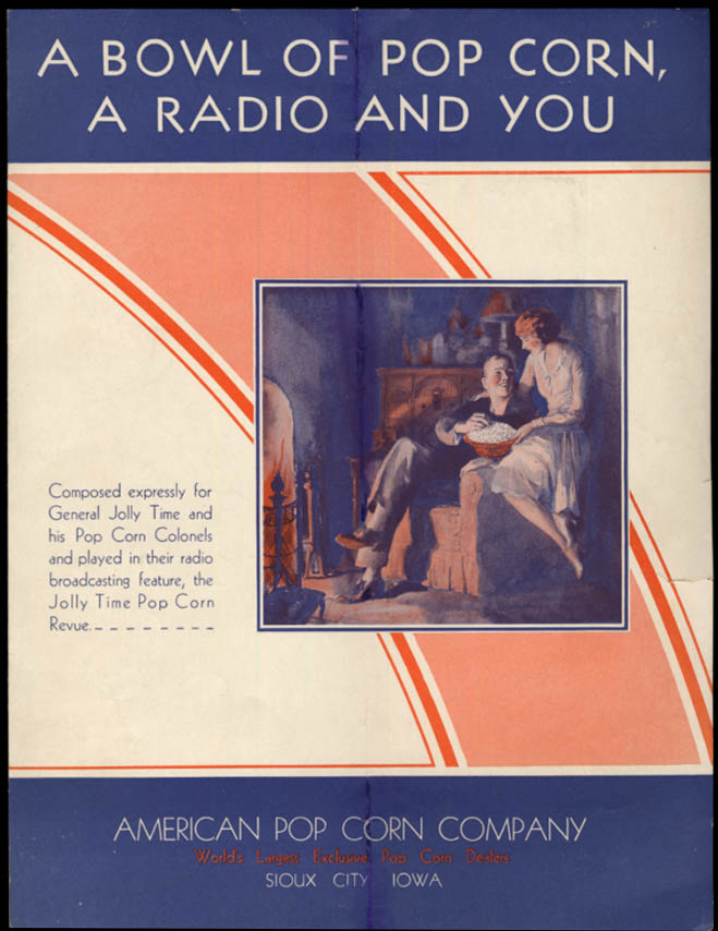 Image for A Bowl of Pop Corn A Radio & You sheet music 1930 American Jolly Time Pop Corn