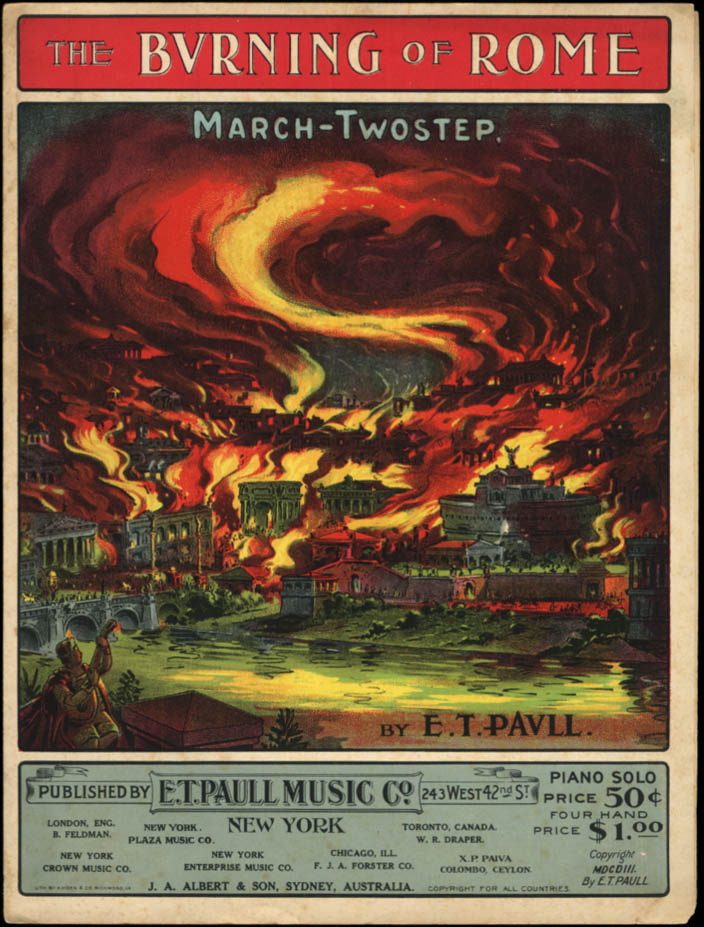 Image for The Burning of Rome E T Paull sheet music 1903 chromolithograph cover