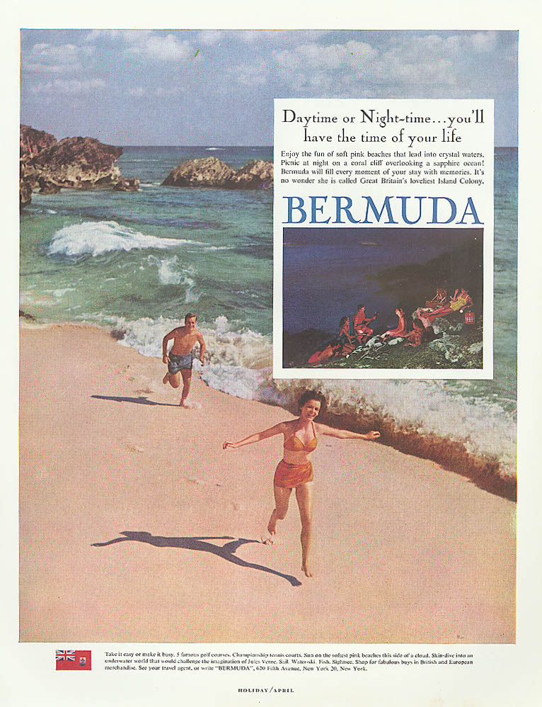Image for Daytime or Night-time Bermuda tourism ad 1961