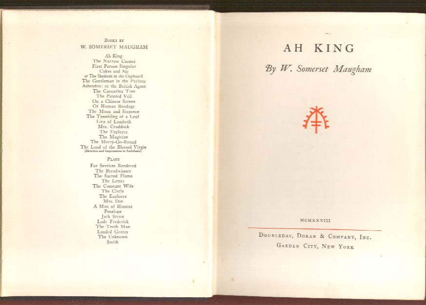 Image for W Somerset Maugham: Ah King 1st US edition 1933