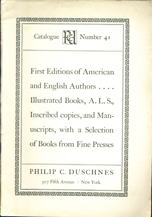 Image for Philip C Duschnes 1st editions catalog #41