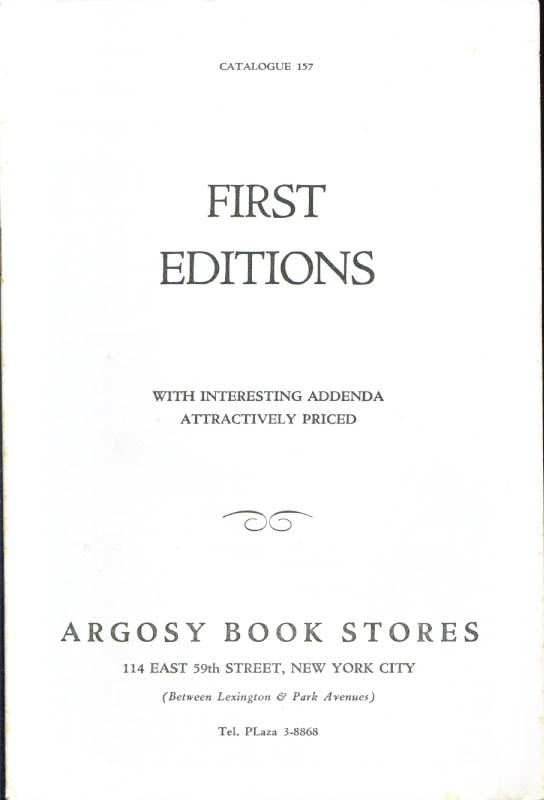 Image for Argosy Book Stores 1st editions catalog #157