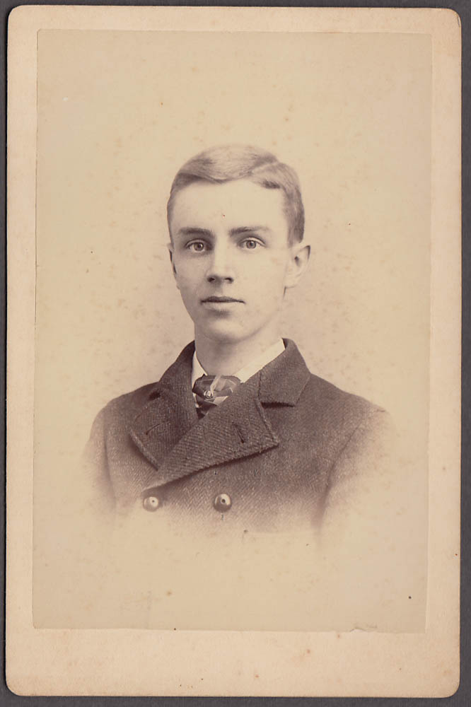 Image for Young man Jerry Crowley cabinet by Langill Darthmouth Hanover NH 1880s