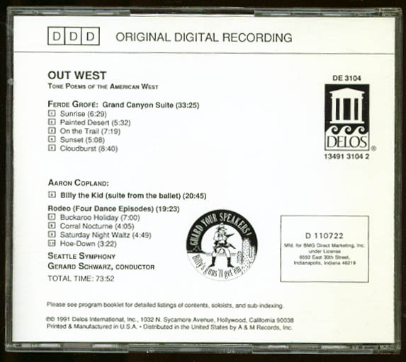 Image for Seattle Symphony Out West Copland Grofe Tone Poems CD