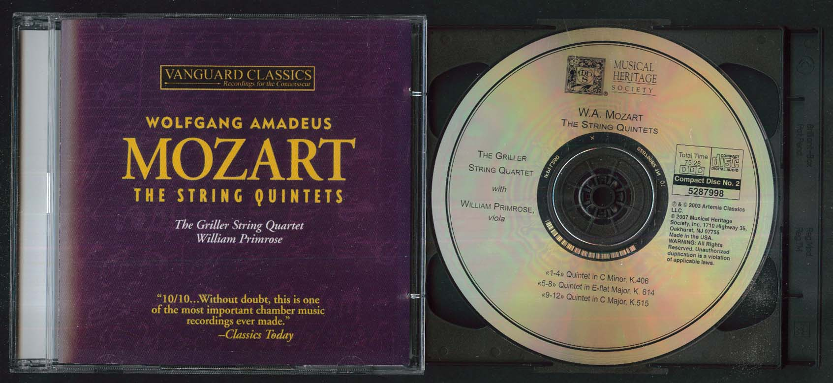 Image for Mozart String Quartets Griller Quartet William Primrose 2007 CD