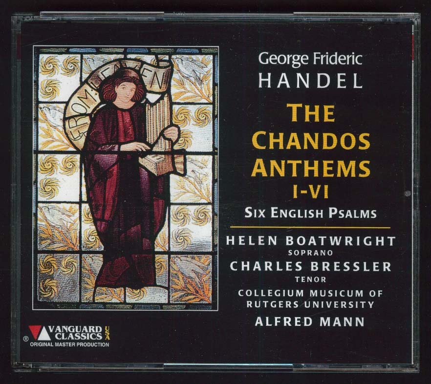 Image for Handel Chandos Anthems I-VI English Psalms Helen Boatwright Alfred Mann CD 1998
