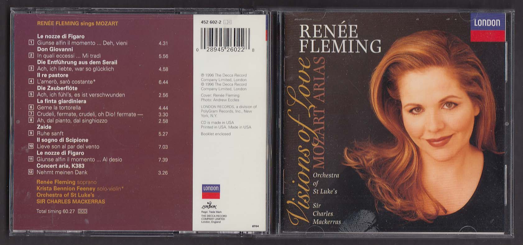 Image for Renee Fleming: Visions of Love Mozart Arias London 452 602-2 CD 1996