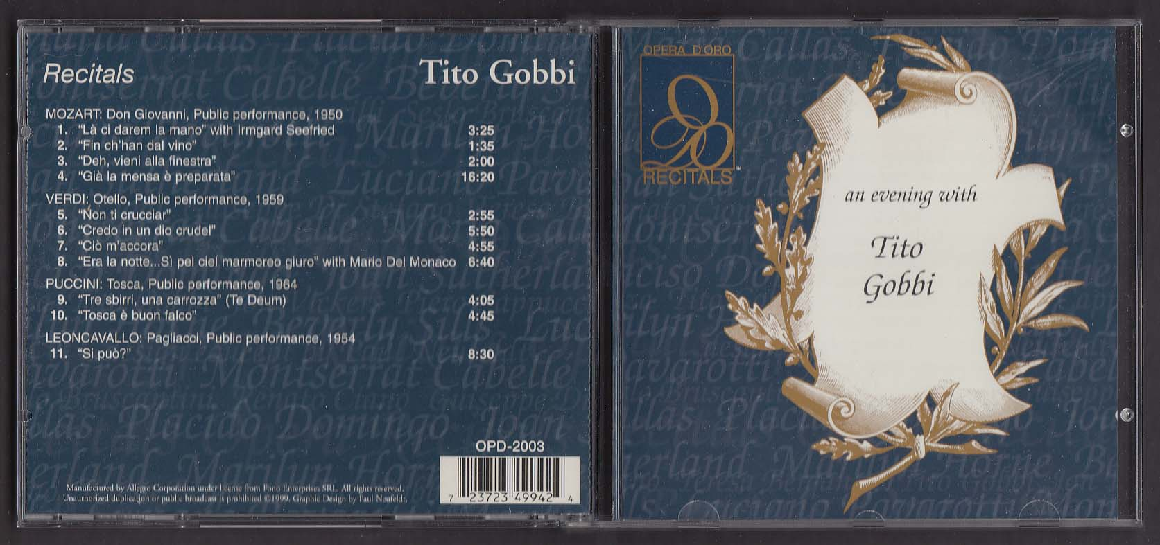 Image for Tito Gobbi: Recitals Mozard Verdi Puccini Leoncavallo ++ OPD-2003 CD 1999