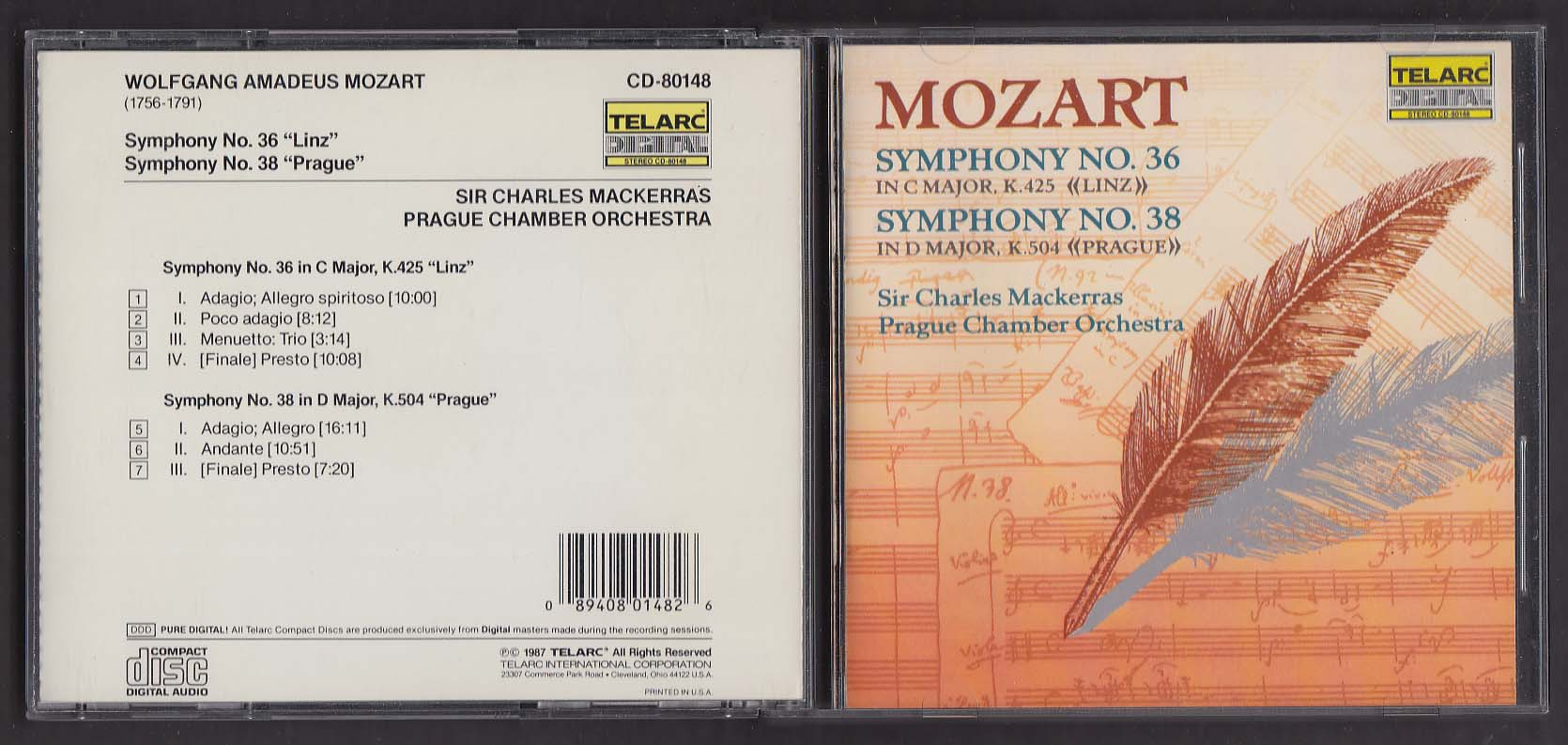 Image for Mozart Symphonies 36 & 38 Prague Chamber Orchestra Telarc CD-80148 CD 1987