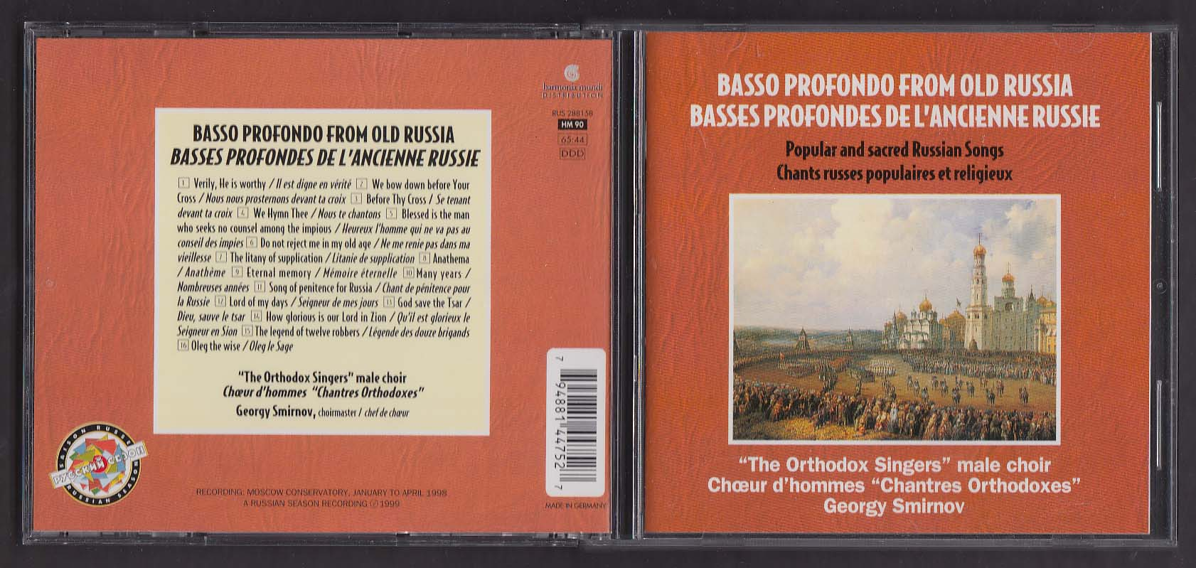 Image for Basso Profondo from Old Russia Orthodox Singers male choir Smirnov CD 1999