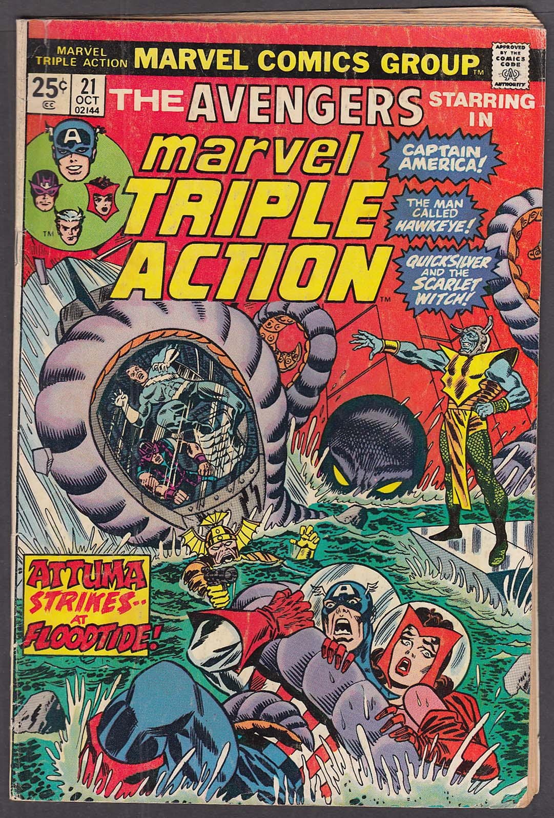 Image for MARVEL TRIPLE ACTION #21 Avengers Captain America Hawkeye comic book 10 1974
