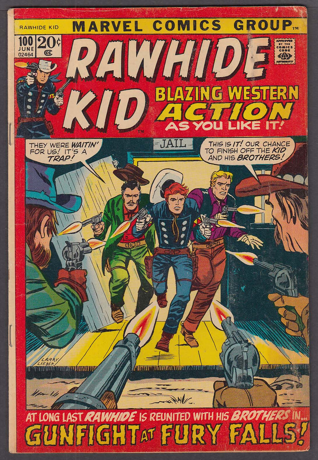 Image for RAWHIDE KID #100 Marvel comic book 6 1972