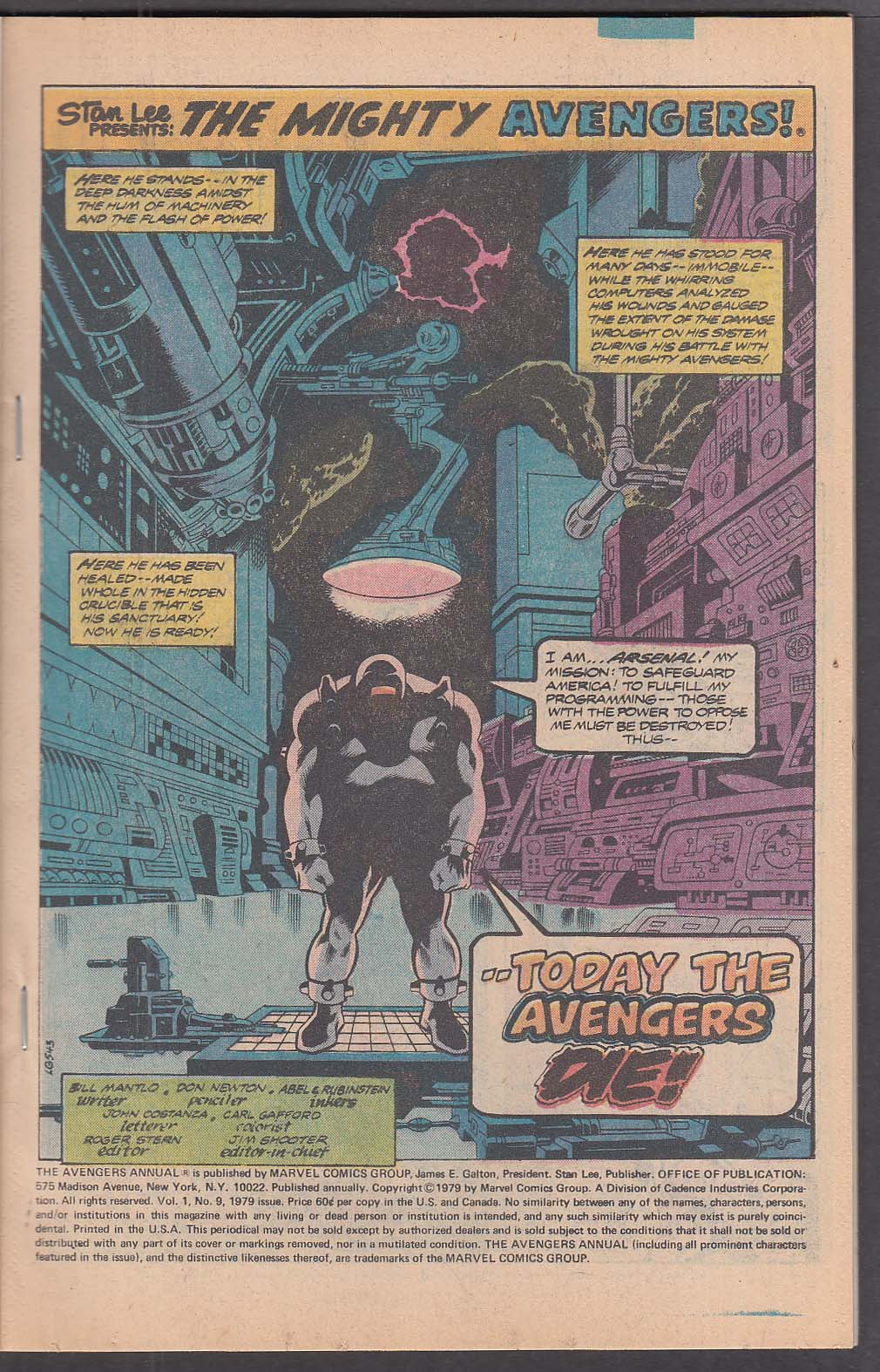 Image for The AVENGERS Annual #9 Marvel comic book 1979
