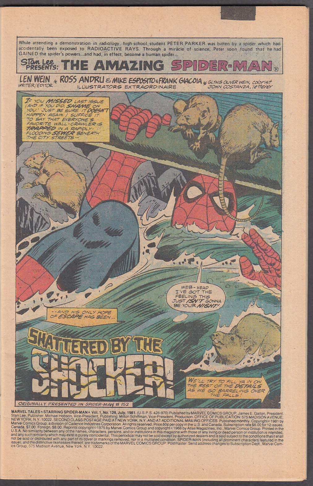 Image for MARVEL TALES #129 Spider-Man comic book 7 1981